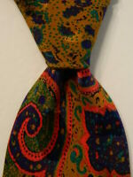 SANTOSTEFANO Men's 100% Silk Necktie ITALY Luxury Geometric Multi-Colored EUC