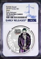 2019 Suicide Squad - Joker Proof $1 1oz Silver COIN NGC PF 70 ER