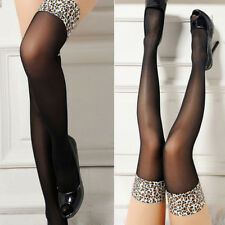Women Sexy Leopard Print Stockings Lace Top Sheer Thighs High Quality Stocki GT