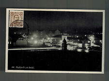 1936 Iceland Real Picture Postcard Cover Reykjavik City View at Night # 177