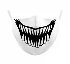 Face Mask Scary Face Skull Sharp Teeth Smile Reusable Washable