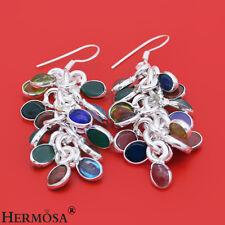 """925 Sterling Silver Chalcedony Garnet Coral Black Onyx Hook Earring 2 1/4""""030"""