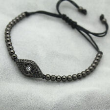 18kt Gold Plated Evil Eye & 4MM Bead Men/Women Zircon Braiding Macrame Bracelets