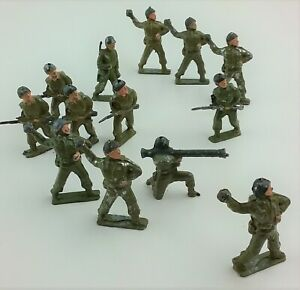 CHERILEA Lead 13 Toy Soldiers WWII w Grenades Rifles & Launcher 54mm Englan