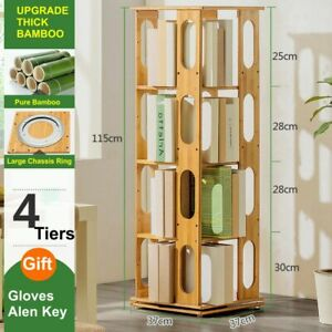 Space Saving Rotating Bamboo Bookshelf Bookcase Oval Style 4 Tiers Special Sale