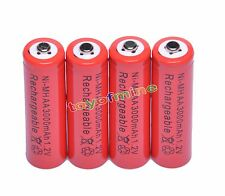 4x AA 2A 3000mAh 1.2V Ni-Mh Red Color Rechargeable Battery RC Best Price