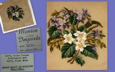 Vtg fprp Monica Imports Preworked Portugal Needlepoint Handmade Floral 16x16 NWT