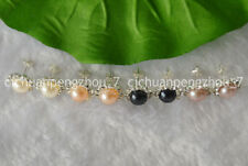 4 Pairs Real Natural Pearl Earring 4 colors 8-9mm Pearl & Crystal Rhinestone