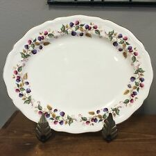 """Aynsley Bramble Time Oval Serving Platter 14"""" Berries Scalloped England RARE!"""