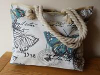LARGE BEACH BAG BUTTERFLY BLUE Cream Tote Shoulder Handbag Travel Holidays
