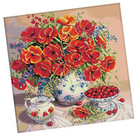 Flowers & Cherry Pattern Stamped Cross Stitch Kits 14CT Cloth Embroidery Kit