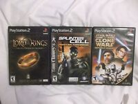 Playstation 2 Game Lot 3 Games. Splinter Cell, Star Wars, Lord of the Rings