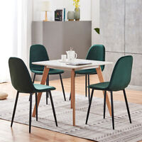 4 Pcs Dining Chair  Stylish Dutch Velvet Chairs W/Iron Metal Legs Kitchen Green