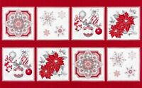 "23"" Fabric Panel - Robert Kaufman Holiday Flourish 10 Red Silver Metallic Blocks"