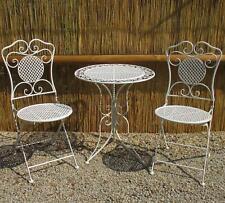Gartenmöbel Bistro-set Eisen 1 Tisch 2 Stühle Weiss Antikstil Balkon Sitzgruppe