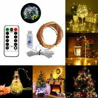 USB Powered REMOTE CONTROL 50/100/200 LED String Lights DIMMABLE Fair Wire Light
