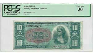MPC Series 591  10 Dollars  PMG 30  VERY FINE