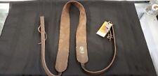 Handmade Long Hollow Leather Brown Banjo Strap