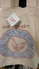 Chickens Feed Sack- Tote Bag- Hand Bag -New-Vintage Look-Primitives By Kathy