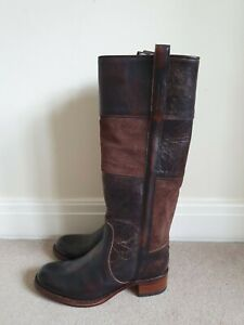 FRYE Ladies Knee High Leather & Suede Boots In Brown Size US 9M/UK 7