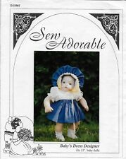 "Sew Adorable Baby's Dress Designer Pattern for 15"" Baby Dolls New Uncut Sa3001"