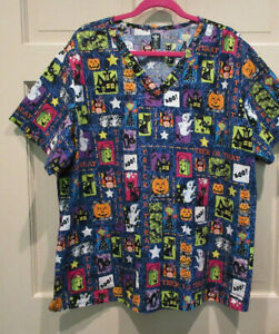 Med Couture Womens Halloween Scrub Top Size 4XL Glitter Ghosts Black Cats FLAWED