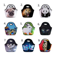 Animal Pug Insulated Cooler Lunch Bag Kids School Picnic Portable Tote Lunchbox