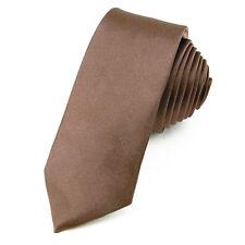 CRAVATE Slim 5 cm Satin Marron - Brown Plain Men Necktie - Cravatte