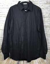 Old Navy Button Down Long Sleeve Dress Shirt Black Men's Size Large Fitted