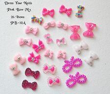 3d Nail Art mixed PINK +  BOWS Glittered, Gel, Bowknot Bling Decoration  #PB-10