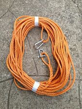 50FT OF NEW 8MM ROPE ORANGE ANCHOR BOAT MOORING WITH SNAP HOOK & d shackle vv