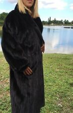 FULL LENGTH Genuine Black Ranch MINK FUR COAT Sz L High Quality Fur on SALE!!!