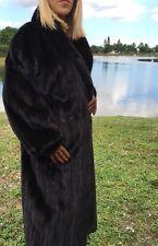 FULL LENGTH Genuine Black Ranch MINK FUR COAT Sz L High Quality Fur on SALE!!!