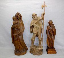 3 Alte Heiligen Figur 48-72cm aus Holz Hand geschnitzt