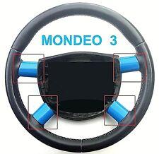FORD MONDEO MK 3 STEERING WHEEL SPOKE TRIMS - SPORTY AZURE BLUE GLOSS - DIY SET