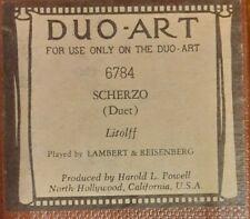 SCHERZO (DUET) BY LITOLFF DUO-ART RECUT REPRODUCING PIANO ROLL