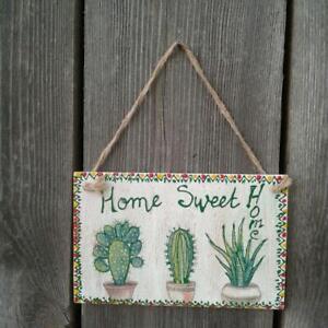 Boho room Decor Cactus print wall art Succulent wood Handmade Home sweet Home
