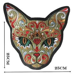 Day of Dead Cat Large Iron On Patch Quality Patches Badge 25 cm x 25 cm P355