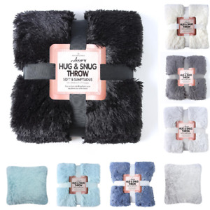Luxury Hug & Snug Throws Fluffy cushion covers Faux Fur Blankets Soft Warm Gifts