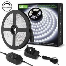LE 5M LED Strips Lights Kit, Dimmable, 1200lm, Daylight White 6000K, Plug and