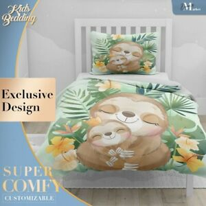 Jungle Sloth Family Kids Animal Green Duvet Cover Sets Zipper And Pillow Cover