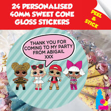 24 Personalised LOL Surprise Birthday Party Sweet Cone Sticker Seals