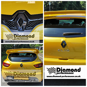 GLOSS BLACK badge logo COVERS for Renault Clio 4 2016-2019 (front & rear) pair