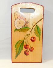 Vintage Russian Painted Cutting Decorative Board Butterfly Cherry Branch signed