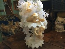 Vintage Wilton Bridal Wedding Cake Topper with Angels Silk Flowers Bells Tulle