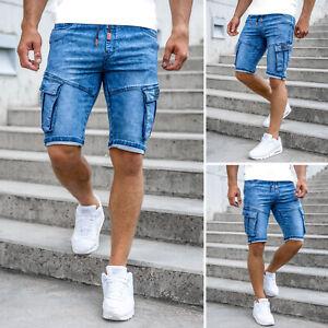 Shorts Jeans Bermudas Jeanshose Kurze Kurzhose Denim Motiv Herren Mix BOLF Cargo