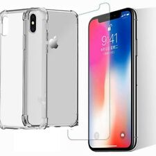 iPhone X/Xs [3in1] COMBO 2xTEMPERED GLASS SCREEN PROT +TRANSPARENT CASE COVER