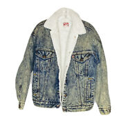 VTG Levi's 1980's Sherpa Line Trucker Medium Wash Blue Denim Size S Jean Jacket