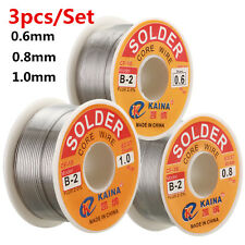 63/37 3pcs 0.8+0.6+1.0mm Tin Lead Rosin Core Solder Flux Soldering Welding Wire