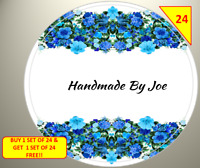 48 x 45mm Personalised Stickers Round Labels Blue Flowers Floral Handmade By